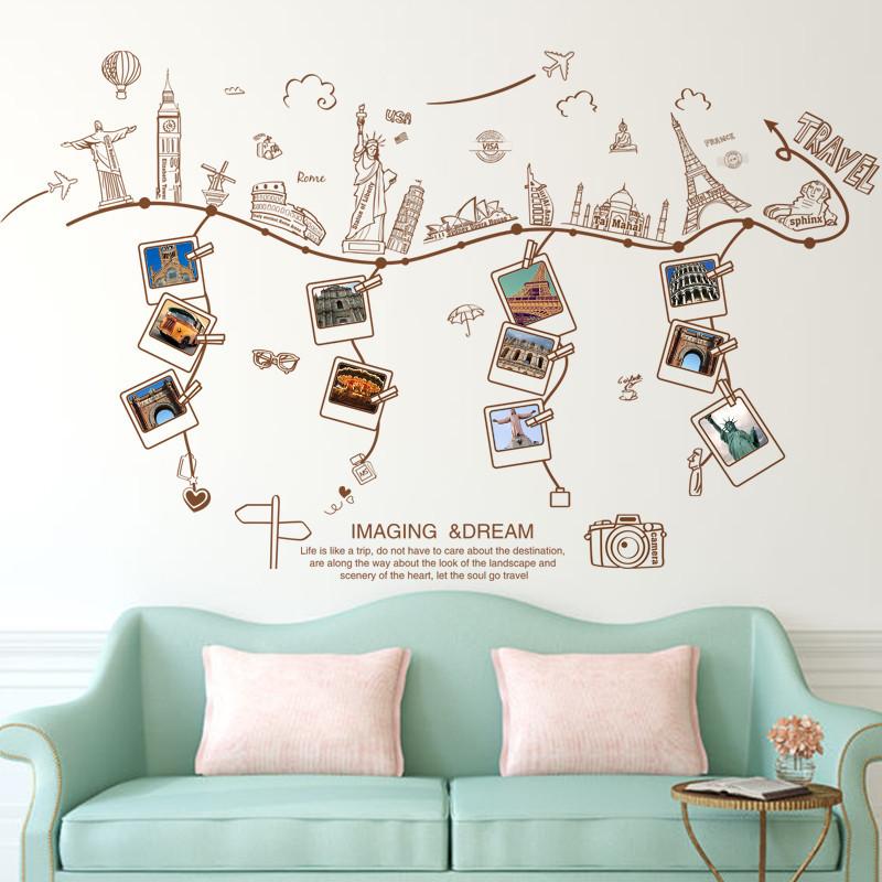 可移除墙贴纸照片贴相片贴画相框欧式建筑墙壁客厅背景温馨卧室