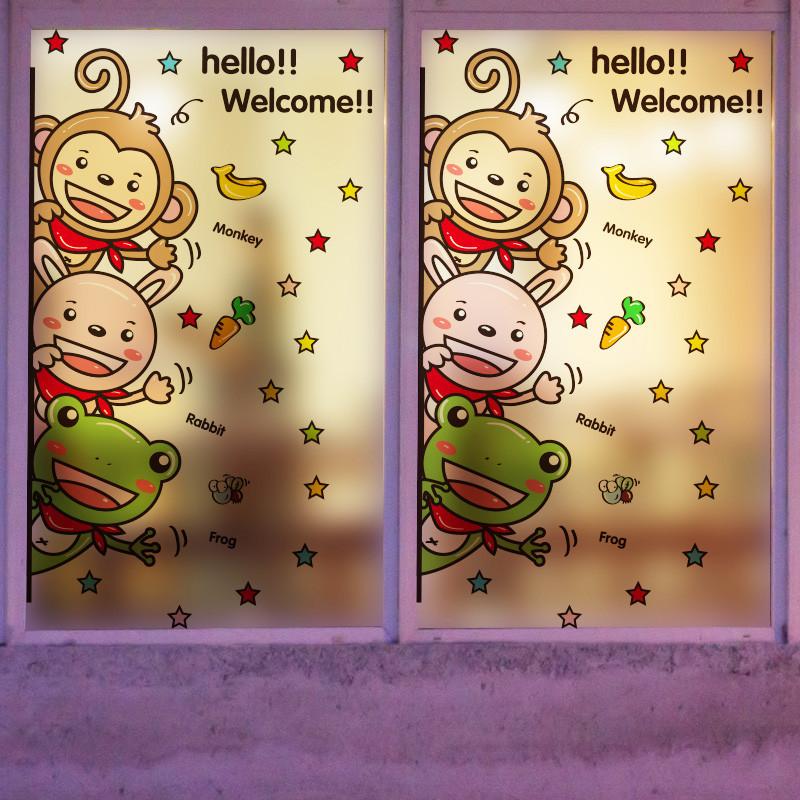 可爱动物幼儿园玻璃橱窗门猴子墙贴纸搞笑卫生间浴室防水瓷砖贴画