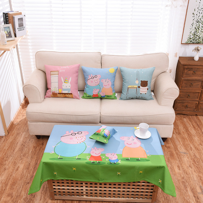 卡通粉红小猪佩琪靠枕可爱儿童抱枕布艺靠垫沙发飘窗汽车腰枕