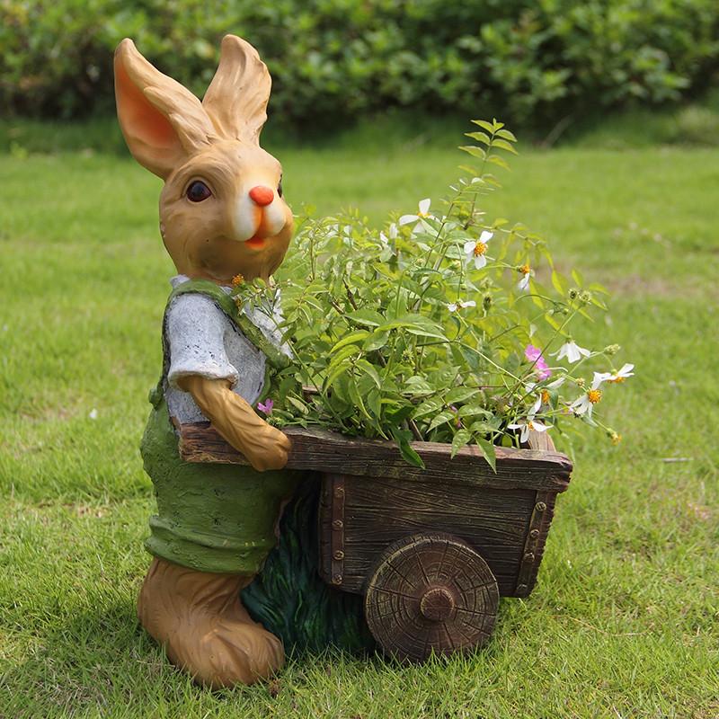 新款2018花园家居花盆户外庭院摆件卡通兔子花缸园林ag游戏直营网|平台雕塑幼儿园