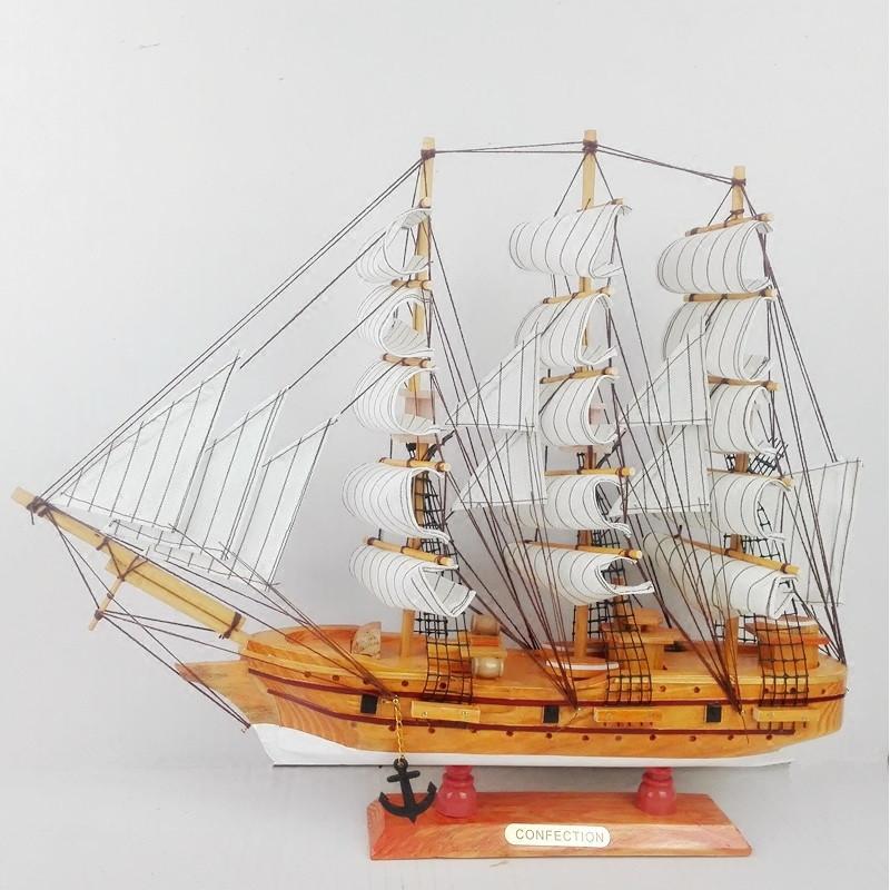 新款2018木质帆船 实木制作纯手工工艺品船模型 家居装饰摆件送人礼品