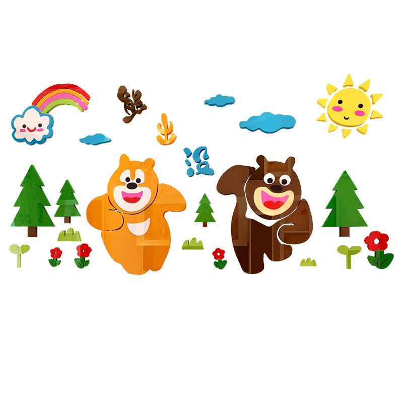 新款2018熊出没3d立体墙贴幼儿园墙面装饰卡通儿童房贴画卧室客厅墙壁
