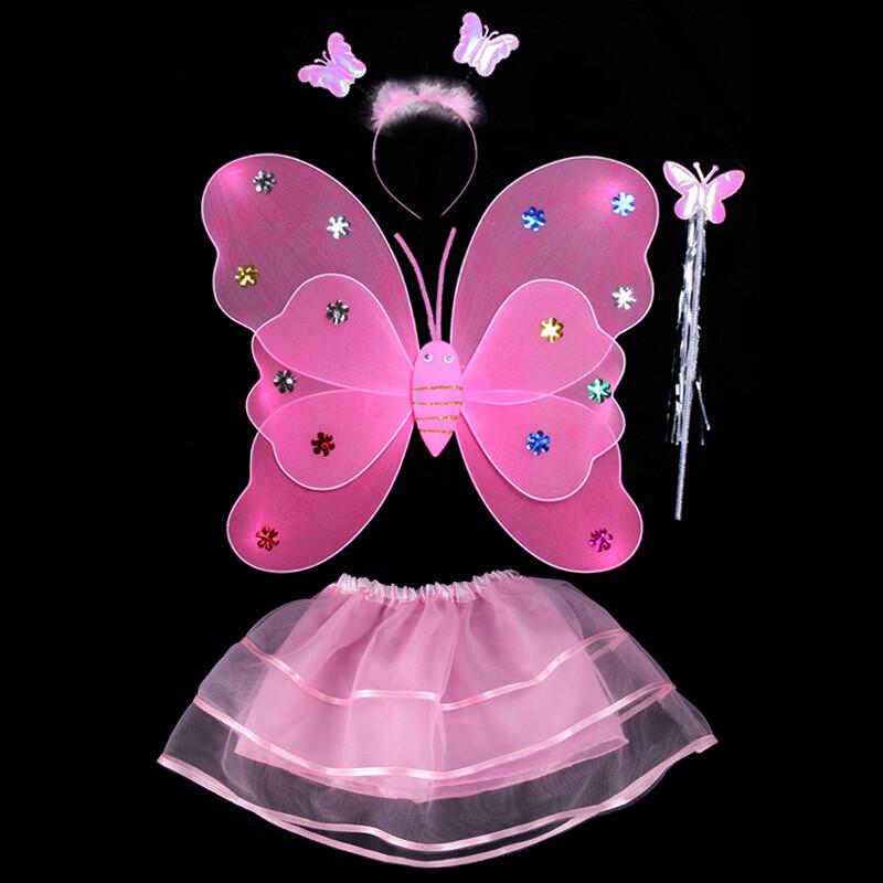 发光背饰小女孩的玩具天使蝴蝶翅膀儿童三件套道具公主仙女魔法棒