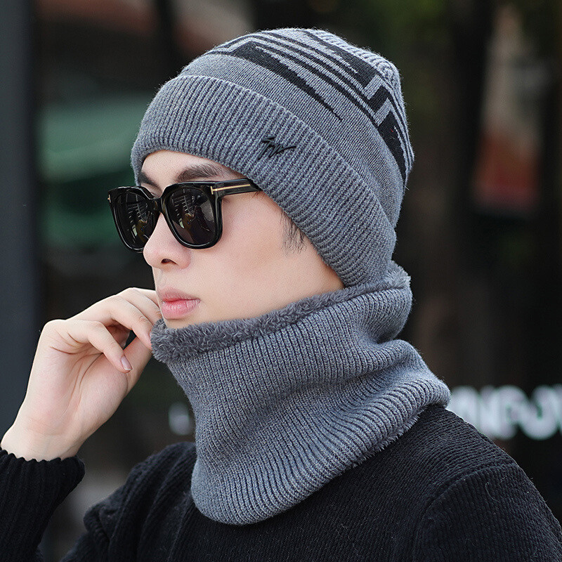 冬季男士帽子加绒毛线帽保暖针织帽冬天套帽户外围脖骑车帽