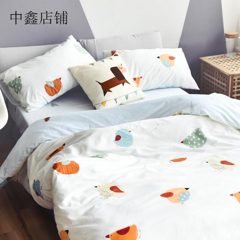简约可爱卡通四件套小清新风被套床单床笠床上用品