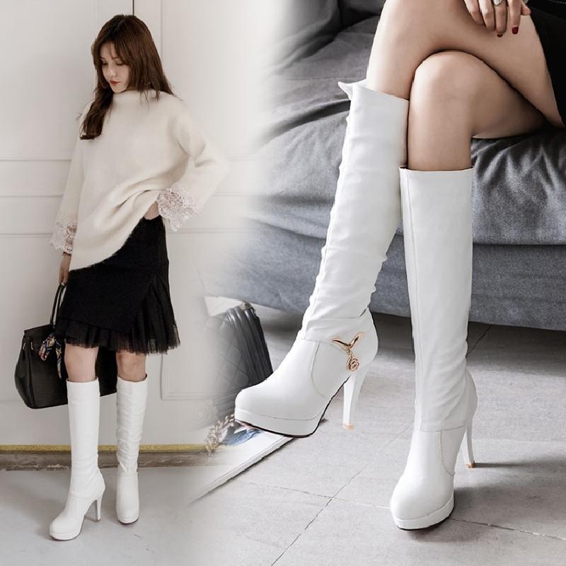 秋冬季高跟鞋女细跟长靴防水台长筒靴女圆头韩版中筒靴高筒靴棉靴