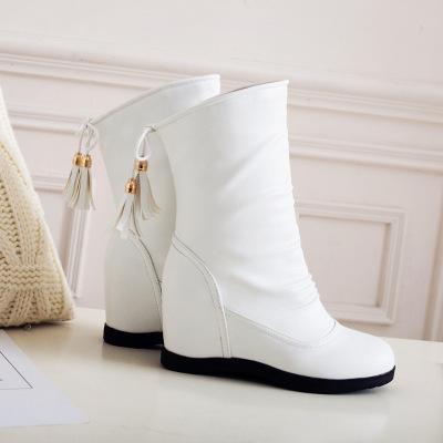 內增高短靴女春秋2017新款冬季百搭圓頭白色坡跟流蘇靴大碼40-43