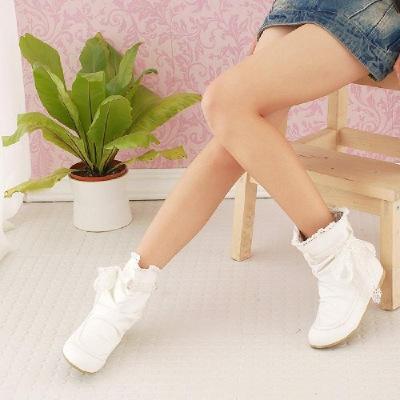 短靴子女平跟春秋百搭學生甜美蝴蝶結平底女靴白色單靴
