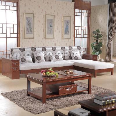 实木沙发 多功能沙发床 小户型客厅简约休闲组合木头转角贵妃沙发