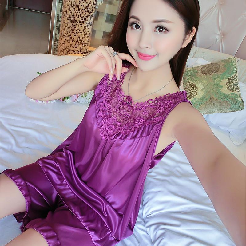夏季睡衣女韩版冰丝无袖套装性感纺丝两件套可爱刺绣大码家居服图片