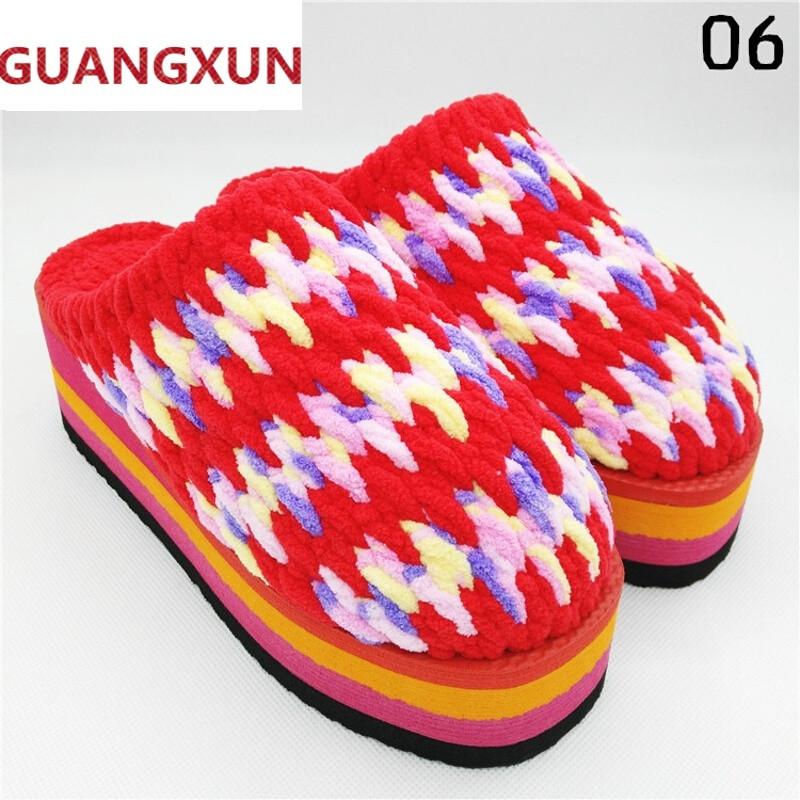 guangxun冬季纯手工编织女式高跟毛线拖鞋居家保暖细
