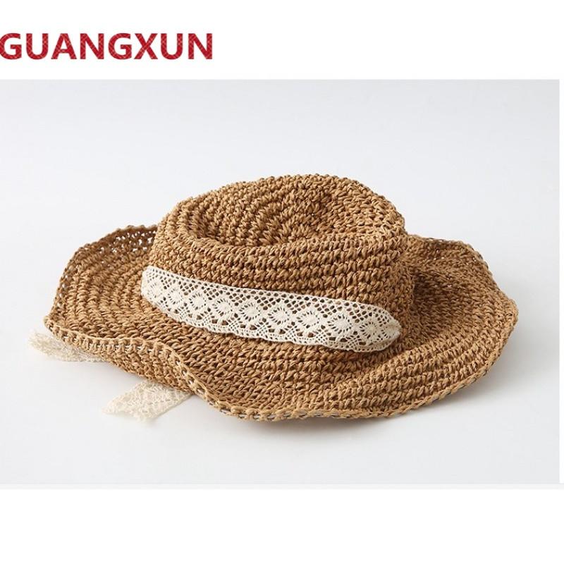 蕾丝系带草帽女丝带帽子手工韩国编织帽子女夏天韩版百搭遮阳帽