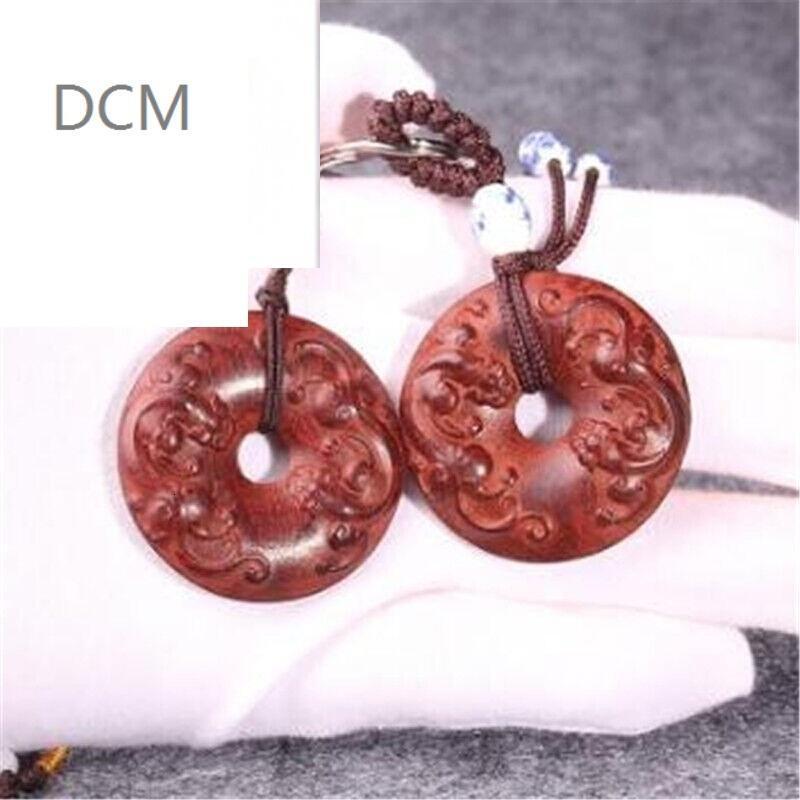 dcm小叶紫檀貔貅平安扣钥匙扣吊坠木雕工艺把玩件挂件