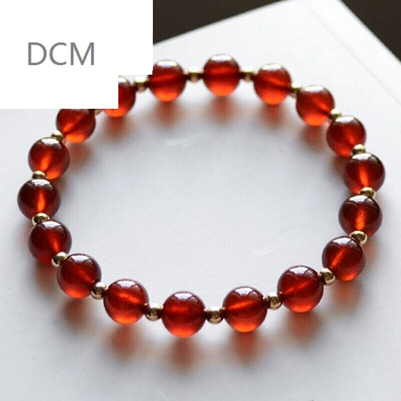 dcm-橙色石榴石手链 14k镀金隔珠水晶女单圈手串 7