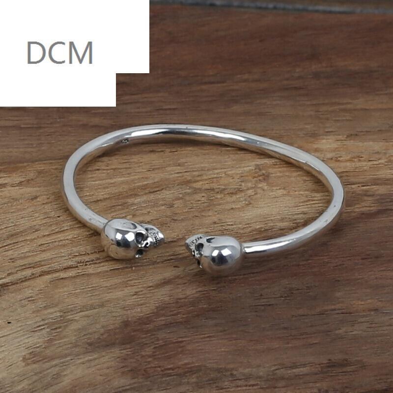 dcms925银饰品复古泰银男女款流行银饰简单双骷髅头手镯 925银