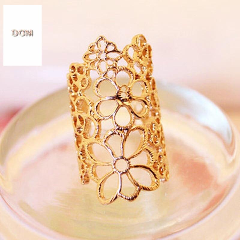 欧美夸张缕空花纹戒指韩版玫瑰花朵指环饰品