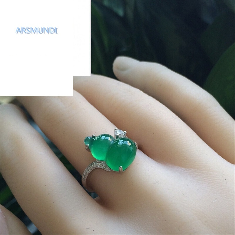 arsmundi绿玉髓葫芦戒指环女食指开口玛瑙925银饰品