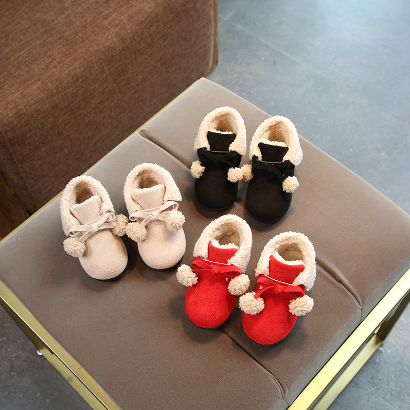 促销冬季婴幼儿棉鞋子6-7-8-9个月女宝宝学步鞋子0-1岁可爱公主皮棉鞋