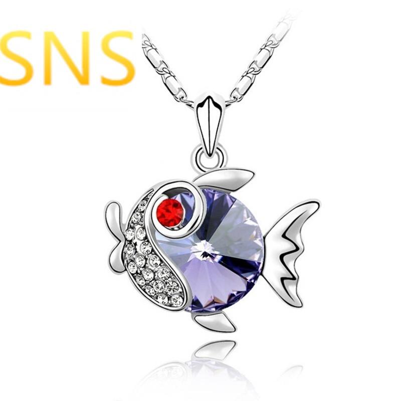 sns元素水晶项链--金鱼时尚动物吊坠女饰品h1