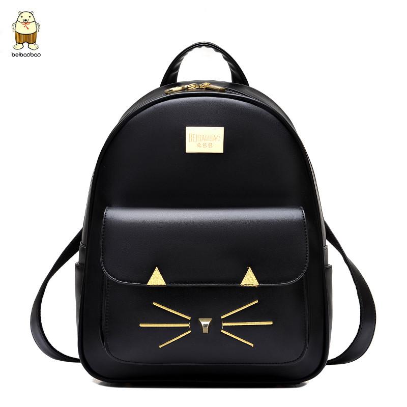 唐家小猫txt书包_2018小猫学院风书包女背包学生韩版pu皮旅行包休闲双肩包大容量