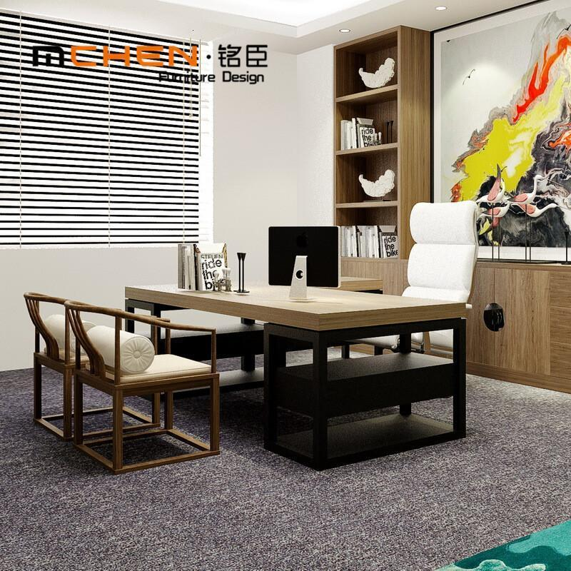 新中式办公桌实木大班台现代简约老板桌书法桌电脑桌办公室家具图片