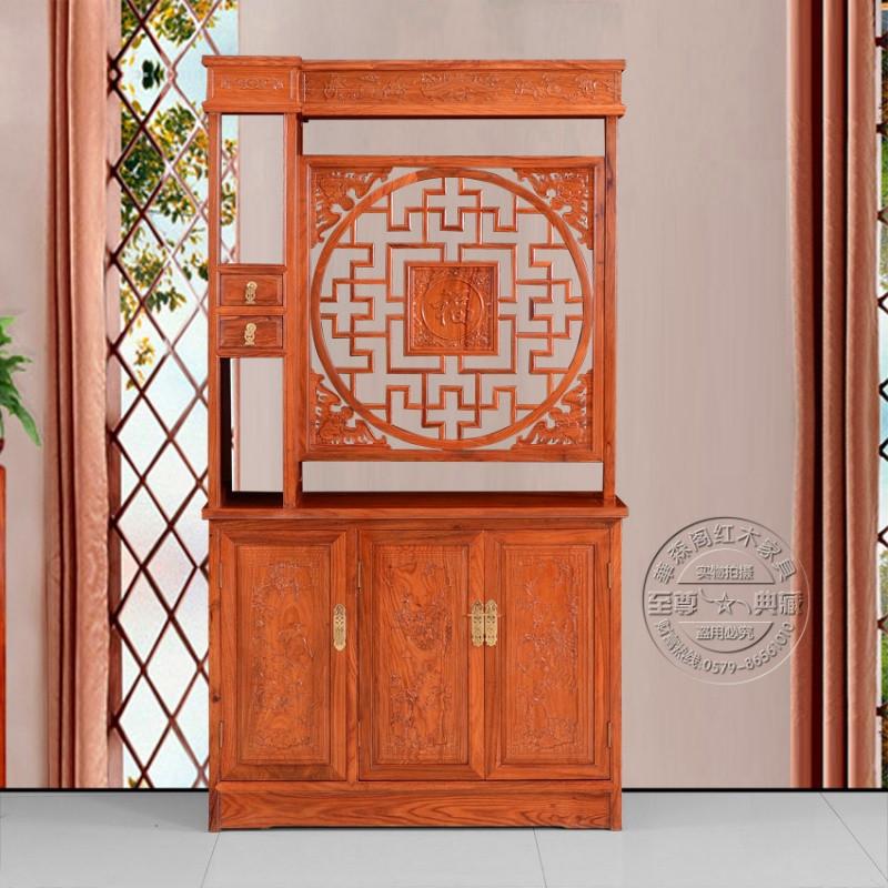 红木玄关柜 客厅实木屏风隔断双面鞋柜 花梨木隔断 酒柜门厅特价