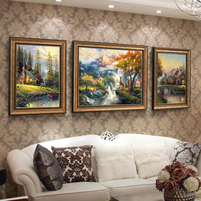 客廳裝飾畫沙發背景墻掛畫美式壁畫餐廳畫簡歐山水風景畫歐式油畫