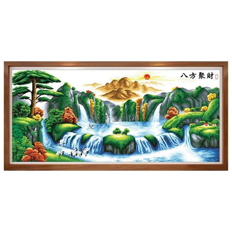 印花十字繡山水畫新款客廳風景八方聚財十字繡聚寶盆2