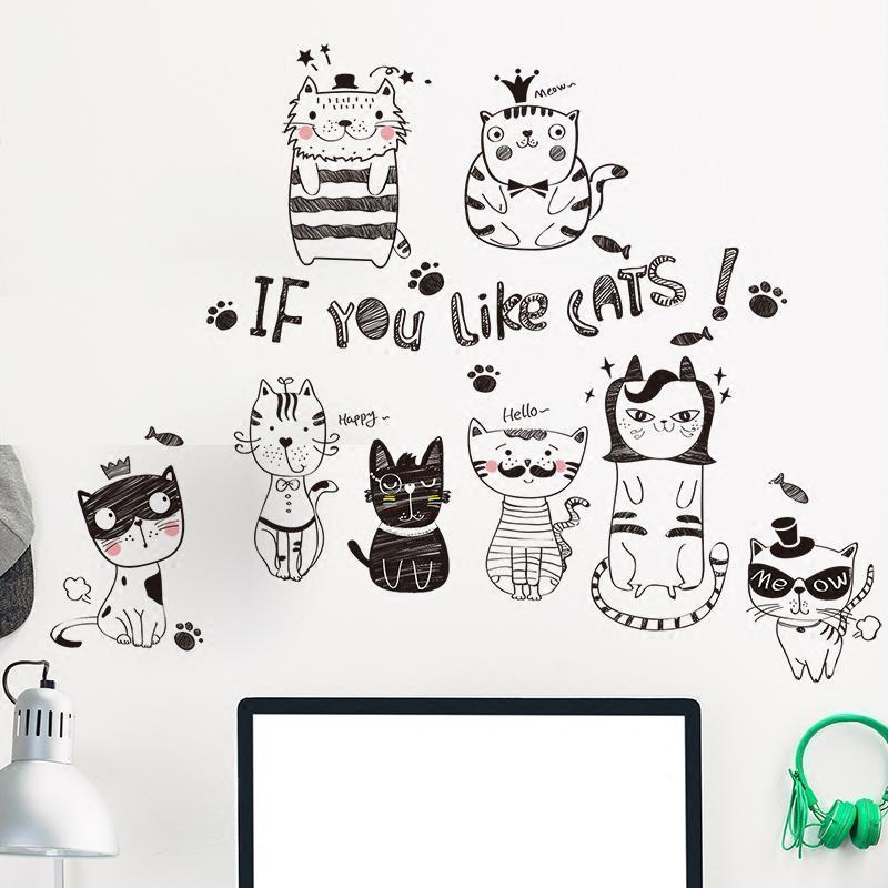 幼儿园卡通可爱猫咪墙贴纸墙画温馨简约创意墙面装饰品自粘墙纸