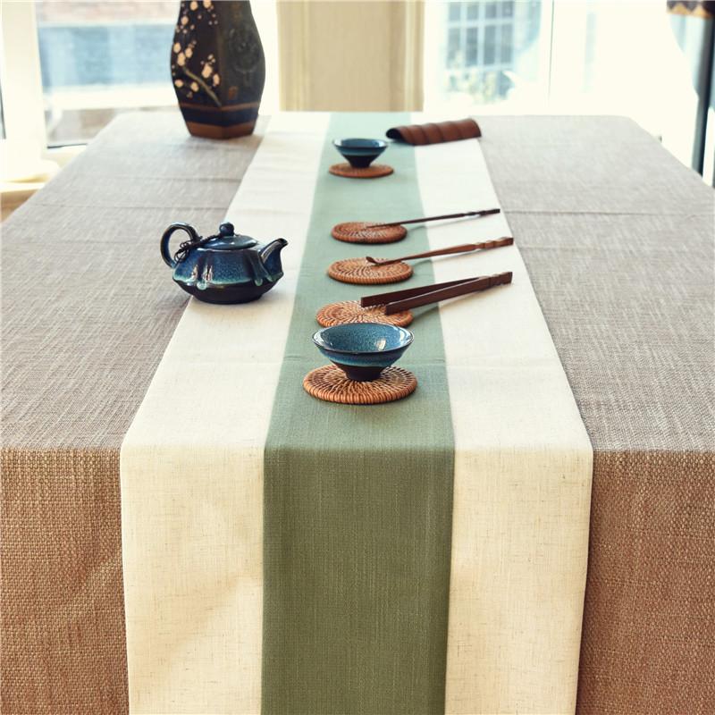 绿色清新棉麻风桌旗 禅意茶席现代简约茶室茶馆茶艺表演考试桌布图片