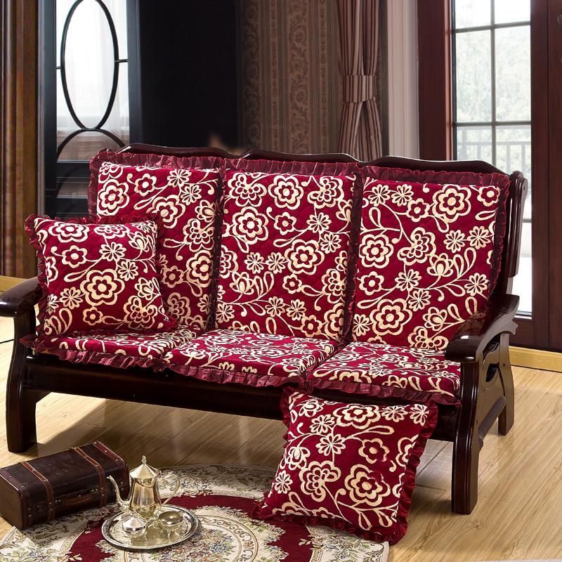 实木沙发垫加厚海绵坐垫连体带靠背防滑红木质长椅垫子三人座冬季