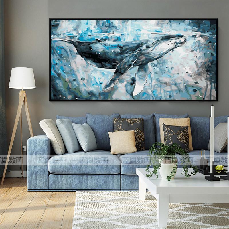 大幅横版鲸鱼diy数字油画客厅卧室海洋动物风景油彩装饰画蓝鲸