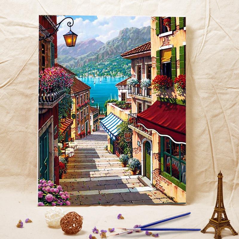 数字油画diy客厅欧式风景挂画手工绘油彩画填上色装饰画海边阶梯