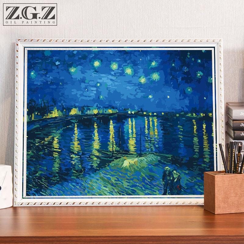 diy数字油画客厅风景手工涂色数码水彩画成人手绘填色