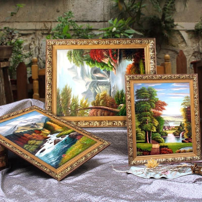 大气欧式风景装饰画客厅挂画简欧山水田园有框壁画美式油画三联画