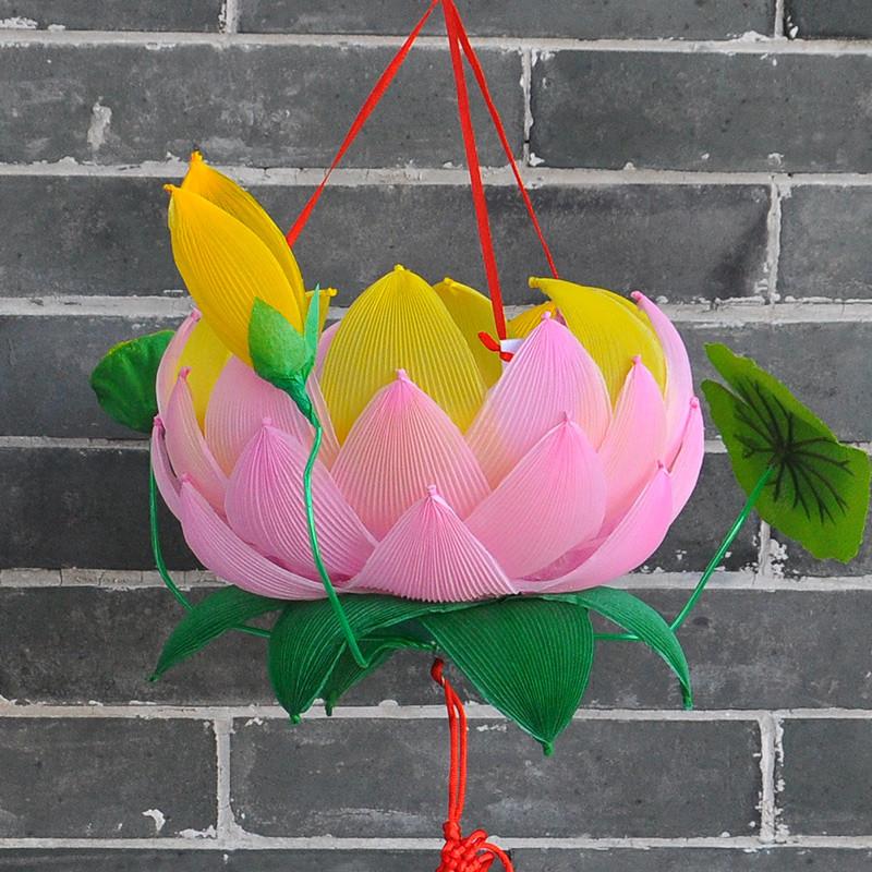 手工灯笼春节元霄节手工制作荷花灯笼材料的花灯幼儿园作业儿童自