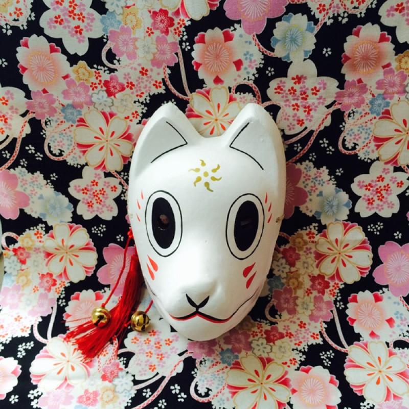 萤火之森 银/阿金面具 日本狐狸妖狐面具和风手绘石膏