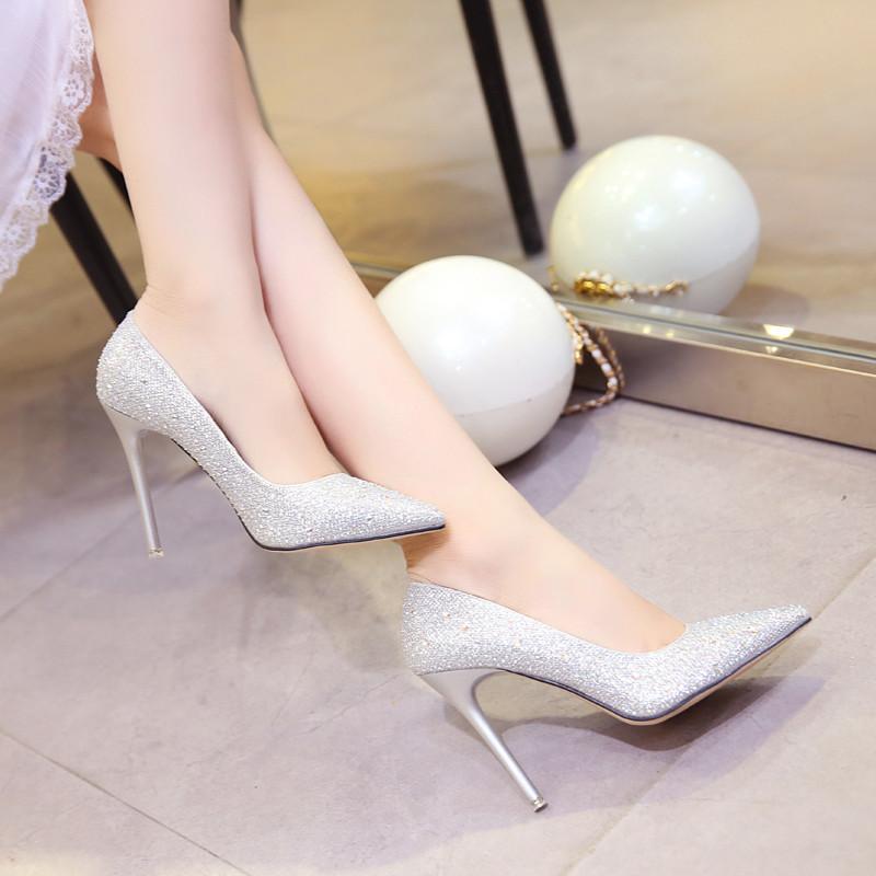 新款2017秋冬新款高跟鞋女细跟金色尖头婚鞋水晶晚礼服红鞋银色新娘鞋