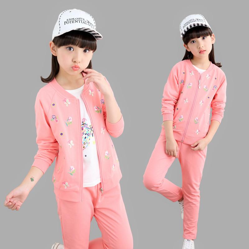 新款童装女童秋套装2017新款三件套儿童春秋装运动服韩版女孩大童衣服