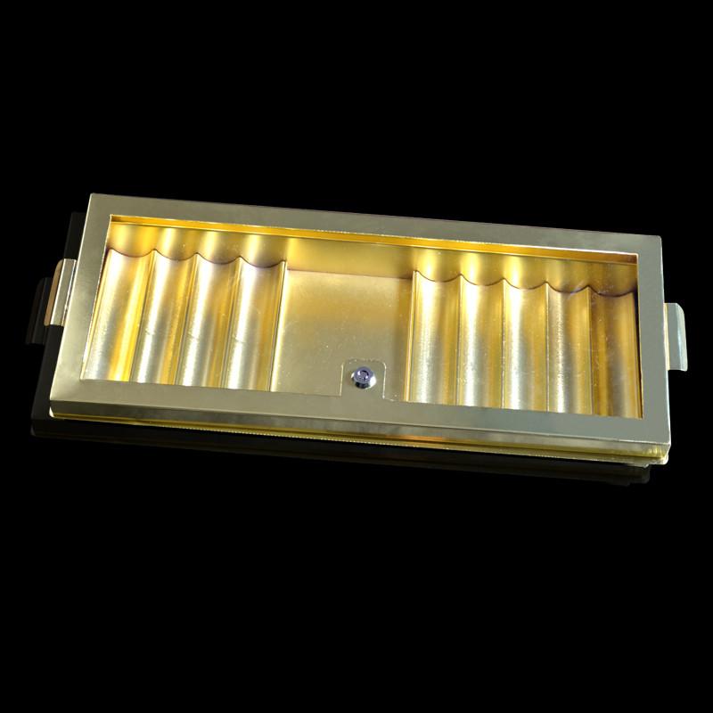 12各金属筹码盘 德州扑克高级筹码盒带方格双锁 娱乐桌专用托盘