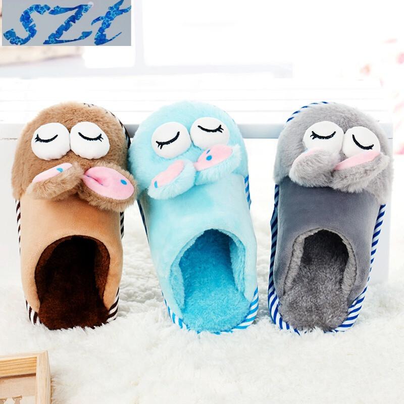 冬季卡通可爱儿童棉拖鞋女童男童小孩保暖棉鞋包跟厚底防滑棉拖鞋jyl