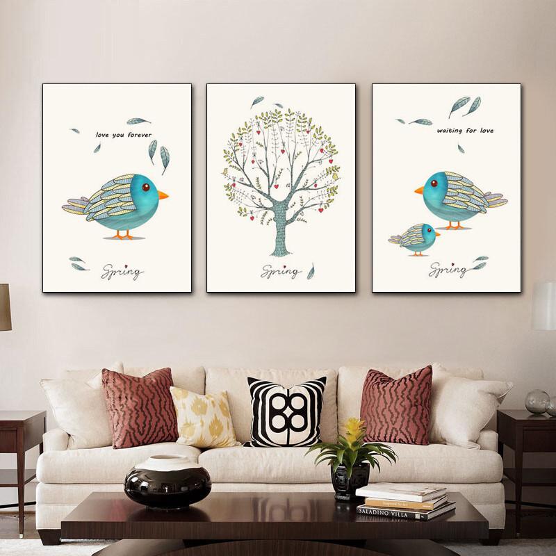 北欧客厅装饰画沙发背景墙壁画三联现代简约餐厅简欧挂画油画图片