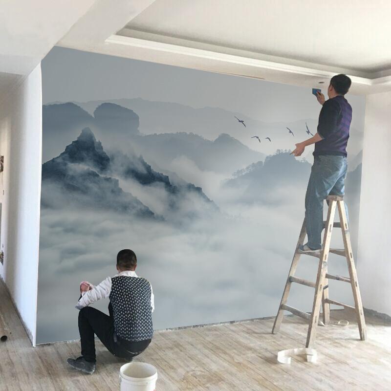中式山水壁纸3d立体电视背景墙壁画8d客厅沙发墙纸5d影视墙墙布(无缝)