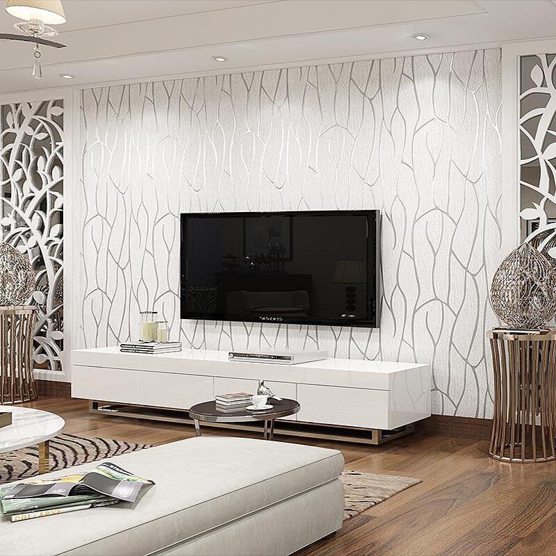 现代简约客厅卧室无纺布墙纸欧式3d曲线条纹影视电视背景墙壁纸升级
