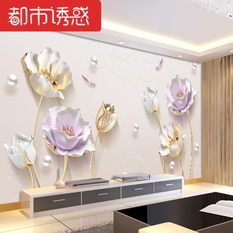 5d壁画电视背景墙壁纸现代简约客厅家装影视墙装饰8d中式荷花墙纸自粘