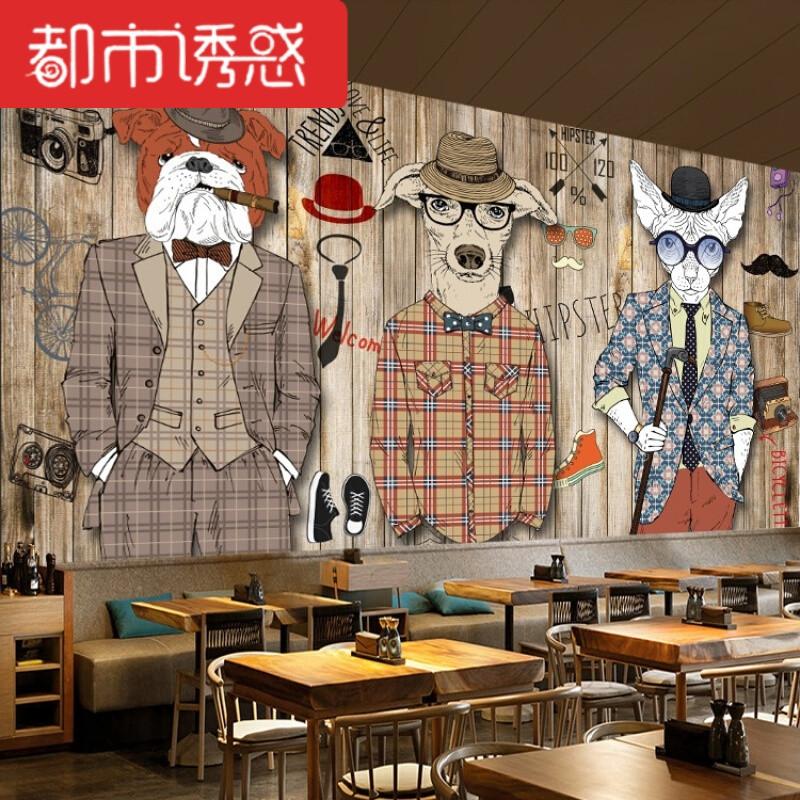 3d北欧复古手绘动物墙纸酒吧服装店壁纸理发店咖啡厅特色装饰壁画5d