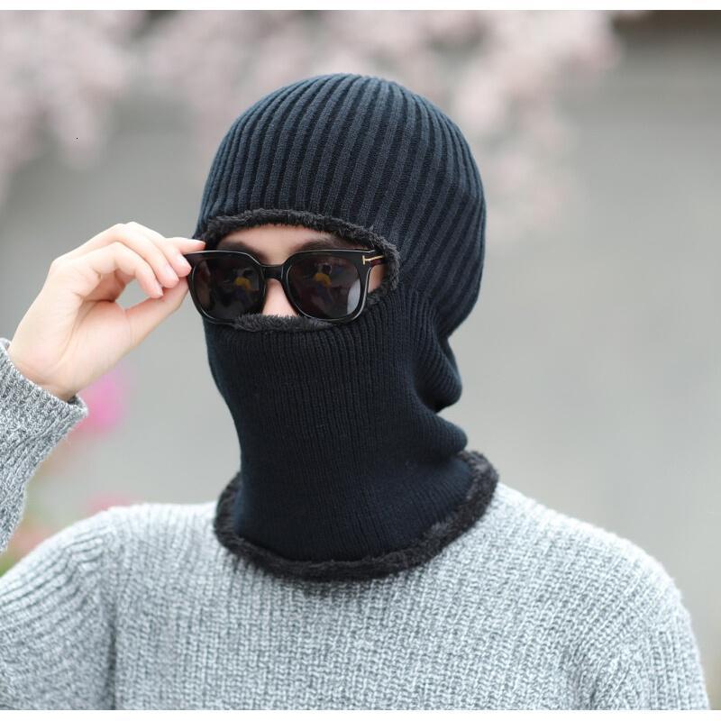男士帽子韩版潮针织毛线帽冬季加绒加厚保暖套头帽子围脖连体护脖