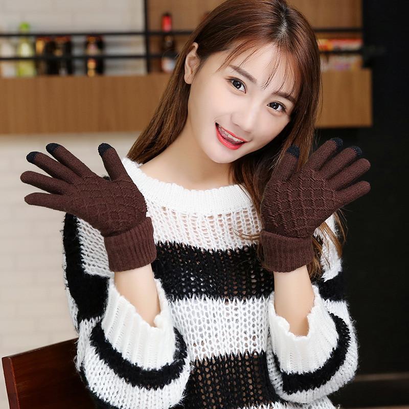 韩版冬季保暖加绒加厚女生手套触屏毛线针织可爱触控女士五指手套