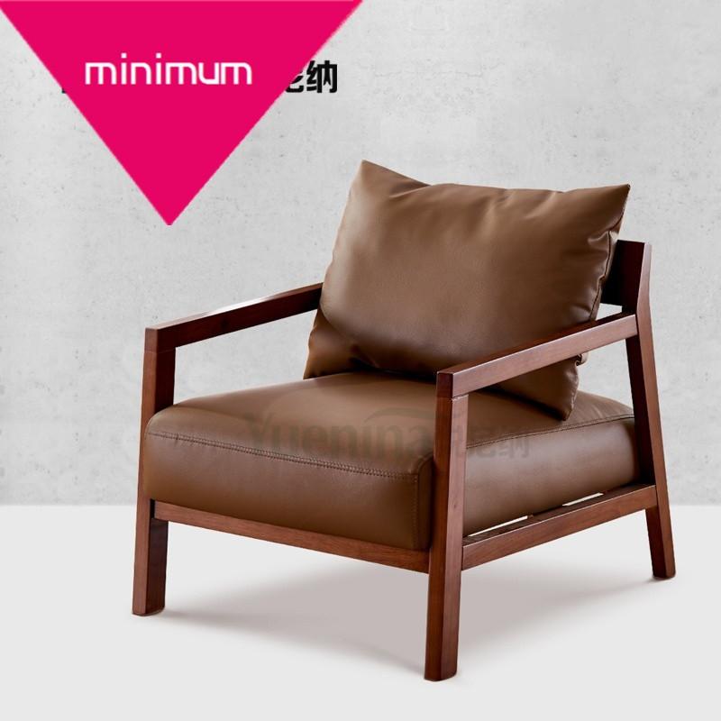 实木单椅北欧设计师皮艺 沙发椅y-51