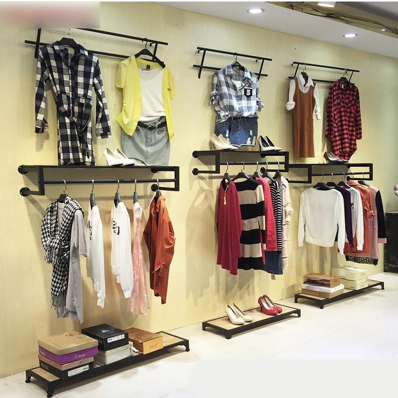 服装店展示架上墙铁艺服装架童装衣架装饰壁挂式男女陈列货架组合生活
